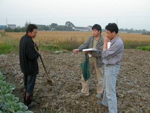 Chinese researchers on the EU Rurbifarm project interviewing farmers near Wuxi in Jiansu Province, 2003
